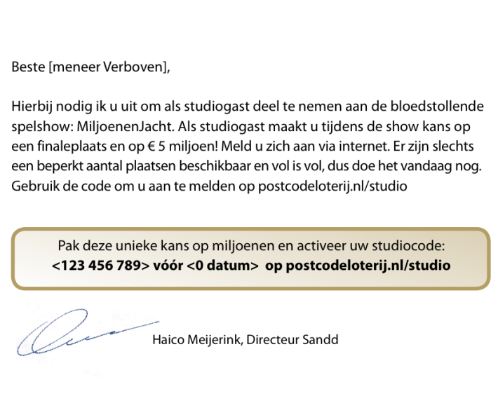 Direct Mail MiljoenenJacht